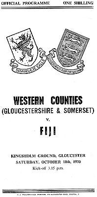 1970-Western Counties-Gloucestershire-Somerset V Fiji-Tour Match Rugby Programme