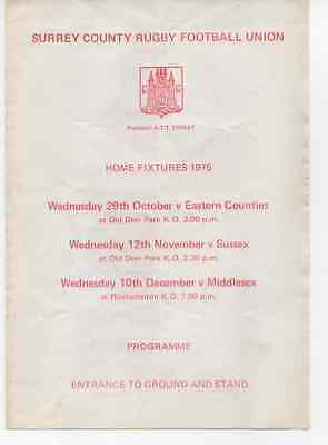 1975-Surrey V Middlesex-County Championship-Rugby Union Programme