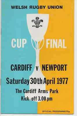 1977-Cardiff V Newport-Welsh Cup Final-Club Competition-Rugby Union Programme