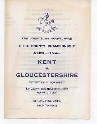 1977-Kent V Gloucestershire-County Championship Semi Final Rugby Union Programme