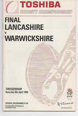 1988-Lancashire V Warwickshire-County Championship Final Rugby Union Programme
