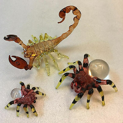 Big Set Scorion Spider Glass Brown Hand Painted Insect Figurines Home Gift Decor