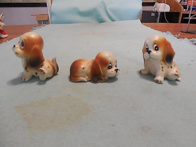 """3 Vintage Hand Painted Porcelain Pieces Miniature Big Eyed Puppies 2"""" Tall #9789"""