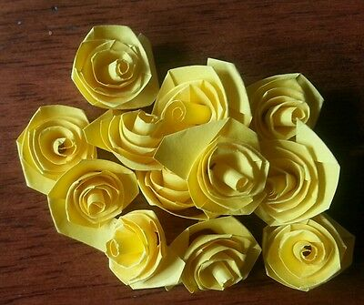 Quilling Quilled 1 dozen (12) Handmade Roses Flowers Scrapbook & Cards Yellow