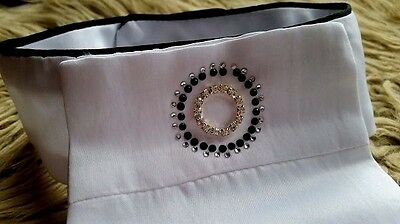 New Arrival Harry's Horse Ladies White Stock With Crystal & Black Beads