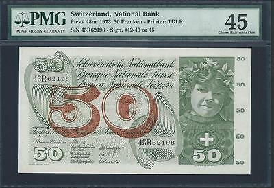 "1973 Switzerland 50 Franken From ""national Bank""  Pmg 45 Please Lqqk It's Cool"