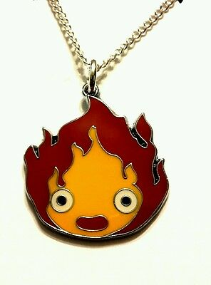 Howl's Moving Castle Calcifer flame pendant chain necklace 18 inch studio ghibli