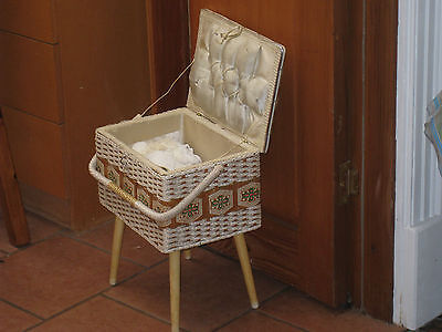 vintage SEWING Box on wooden legs 1960s WHITE woven basket LEATHER top