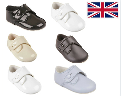 Baby Boys Pram Shoes - Baypods, Soft Sole, Traditional Gibson Button Up, UK 0-3