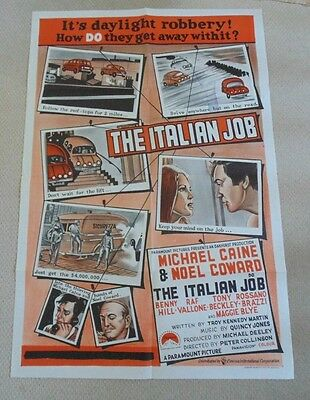 THE ITALIAN JOB ORIGINAL AUSTRALIAN ONE SHEET CINEMA MOVIE POSTER 1969 M Caine