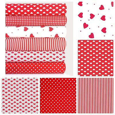 Red Hearts Fabric Fat Quarters Or Bundle 100% Cotton Spot Stripe Craft Quilting