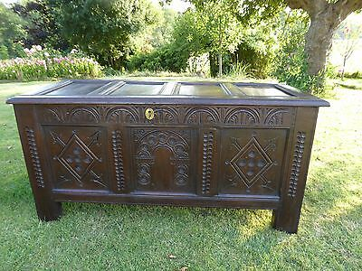 Superb Country Oak Carved  Coffer 1690 Suit Country Cottage   Free Shipping