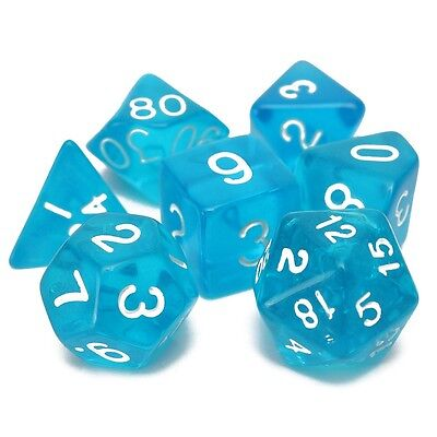7pc Plastic Dice Set Polyhedral Dungeons And Dragons Gaming Multi Sided Dices