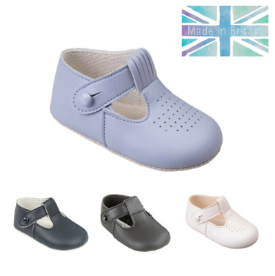 Baby Boys Pram Shoes - Baypods, Soft Sole, Christening, Wedding, T-Bar, UK 0-3