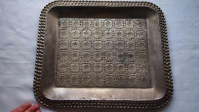 Antique Thai Silver Plated Serving Tray - Hand Beated Floral Detail