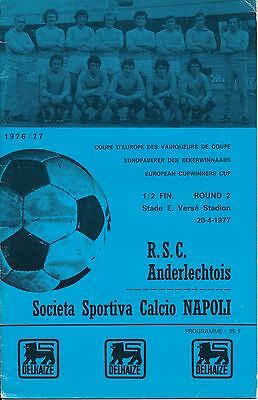 CUP WINNERS CUP SEMI FINAL 1977 Anderlecht v Napoli