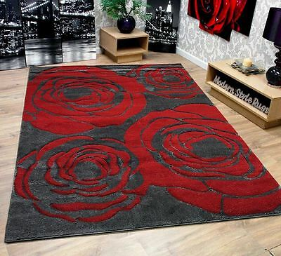 New Modern Roses Extra Large Flowers Grey Red Home Floor Area Rug 160x230cm