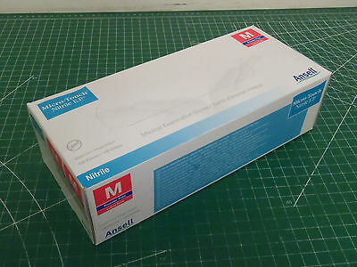 Box of 100: ANSELL NITRILE Micro-Touch 73-405 Disposable Gloves, Medium !63D!