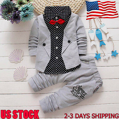2PCS Toddler Kids Baby Boys Tuxedo Suit Gentry Party Christening Wedding Clothes