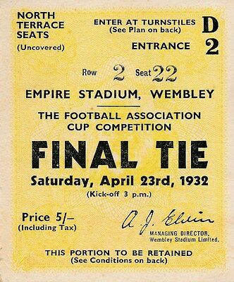 TICKET: FA CUP FINAL 1932 Arsenal v Newcastle United - EXCELLENT