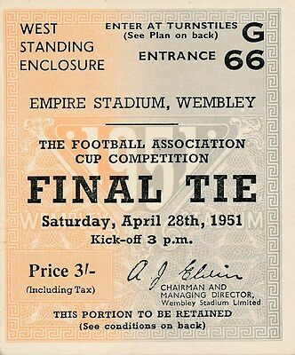 TICKET: FA CUP FINAL 1951: Blackpool v Newcastle United - EXCELLENT