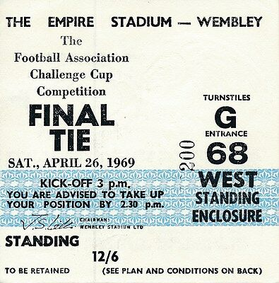 TICKET: FA CUP FINAL 1969: Manchester City v Leicester City - EXCELLENT