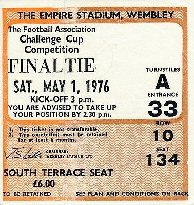 TICKET: FA CUP FINAL 1976 Manchester United v Southampton - EXCELLENT