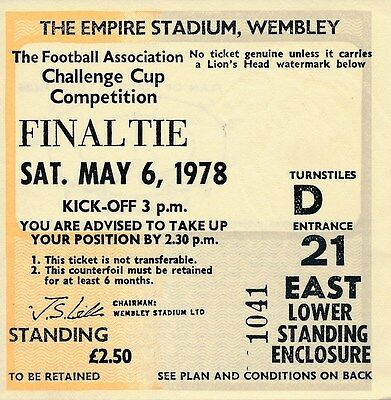 TICKET: FA CUP FINAL 1978 Ipswich Town v Arsenal - EXCELLENT