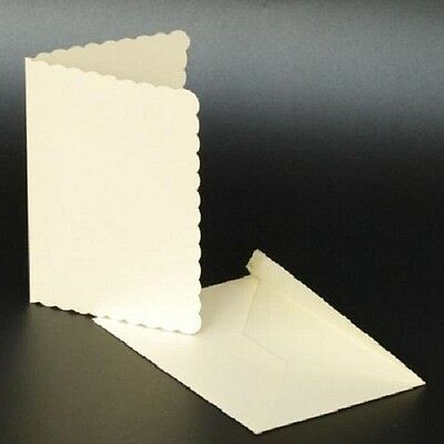 Ivory Scalloped A6 Blank Pre-creased Cards with Ivory C6 Envelopes - Pack of 10
