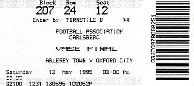 TICKET: FA VASE FINAL 1995 Arlesey v Oxford City - EXCELLENT