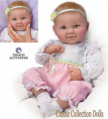 """Ashton Drake """"SWEET CHEEKS"""" TOUCH ACTIVATED 18"""" BABY GIRL DOLL-NEW-IN STOCK NOW!"""