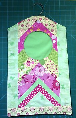 Hand Made Cotton Strong Patchwork Peg Bag / Storage Bag With Hook