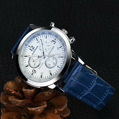 Luxury Faux Leather Mens Blue Ray Glass Quartz Analog Wrist Watches Gift