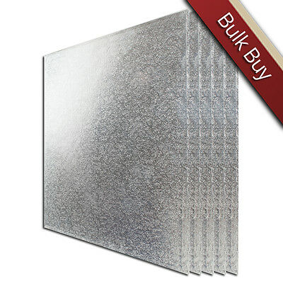 """Cake Board - Drum (12mm) - Square 12"""" : Silver x Pack of 5"""
