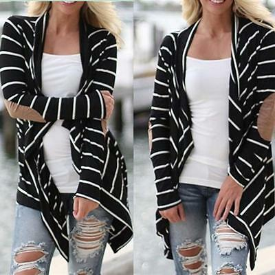Fashion Women Casual Long Sleeve Striped Cardigans Patchwork Outwear Sweater B1