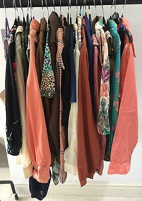 Lot Y 23 Items Mixed Ladies Vintage Retro 70's 80's Shirts Tops & Blouses