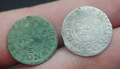 2xPOLAND-SIGISMUND III VASA POLISH HAMMERED SILVER COIN 3 POLKERS (1/24 THALERS)