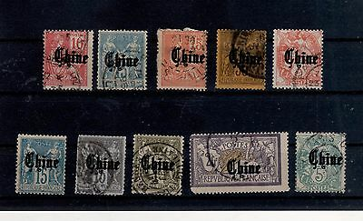 e51) China French Occ. stamps real print is fake