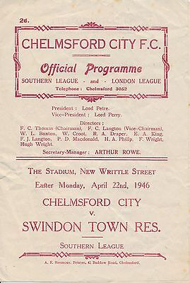 Chelmsford v Swindon Reserves (Southern League) 1945/6
