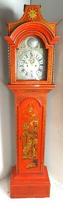 English 8 Day Chinoiserie Grandfather Longcase Clock - Amazing Red & Pagoda Hood