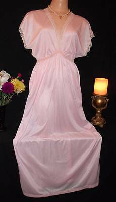 Vintage Long Nylon Nightgown Baby Pink Satin Ribbons Lacy Sissy L XL