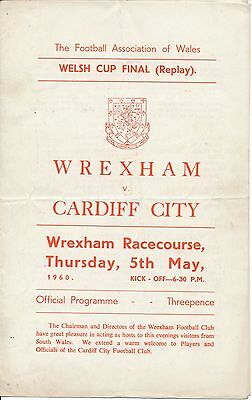 WELSH CUP FINAL 1960 REPLAY Wrexham v Cardiff - 4 pages