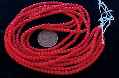 Vintage 3mm Near Round Red Glass Beads Japan 200