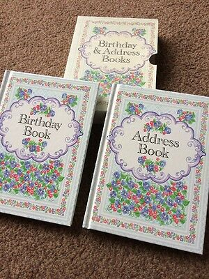 Vintage BOXED ADDRESS & BIRTHDAY BOOKS WITH FLORAL DESIGNS - BN Ted Smart