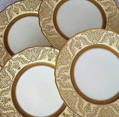 4 Antique Edgerton Scalloped Edge Gold Japan PIckard China Charger Dinner Plates