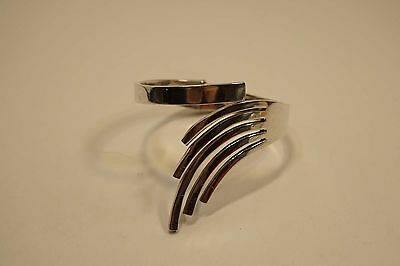 Mexico Modernist Sterling Silver Hinged Bracelet Signed 67.5 Grams  Rs011