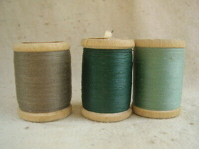 Vintage Russian Wooden Spools of Thread Lot of 3