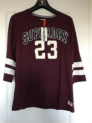 Brand New Burgundy Ladies Superdry Top Size XL