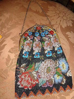 Vintage Jeweled Czech Era Frame Floral Micro Beaded Evening Bag Purse