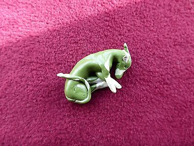 whippet greyhound miniature green/stone  handmade clay sculpture gift new